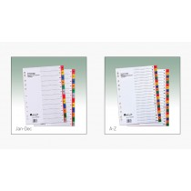 ATLAS PLASTIC COLOURED DIVIDER WITH PRINTED TABS