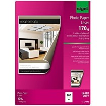 Sigel Photo Paper for Colour Laserprinter/Copier, 2-sided, A4, 170 gsm, 100 sheets, Glossy White