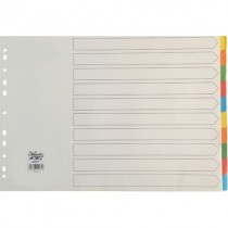DELUXE A3 CARD BOARD DIVIDERS COLOUR WITHOUT NUMBER