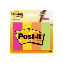 3M Post-it Page Markers 671-4AF, 4pads/pack, Assorted Fluorescent Colors