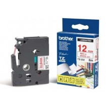 Brother P-touch 12mm TZ-232 Laminated Tape, 8 m, Red on White