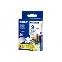 Brother P-touch 9mm TZ-223 Laminated Tape, 8 m, Blue on White